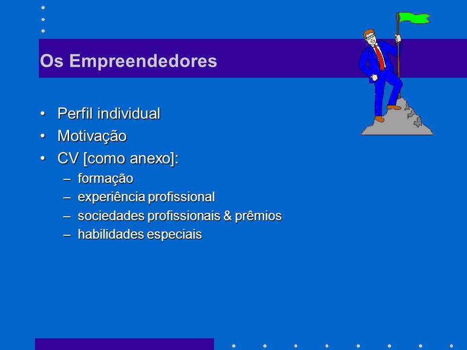 Os Empreendedores Perfil individual Motivação CV [como anexo]: